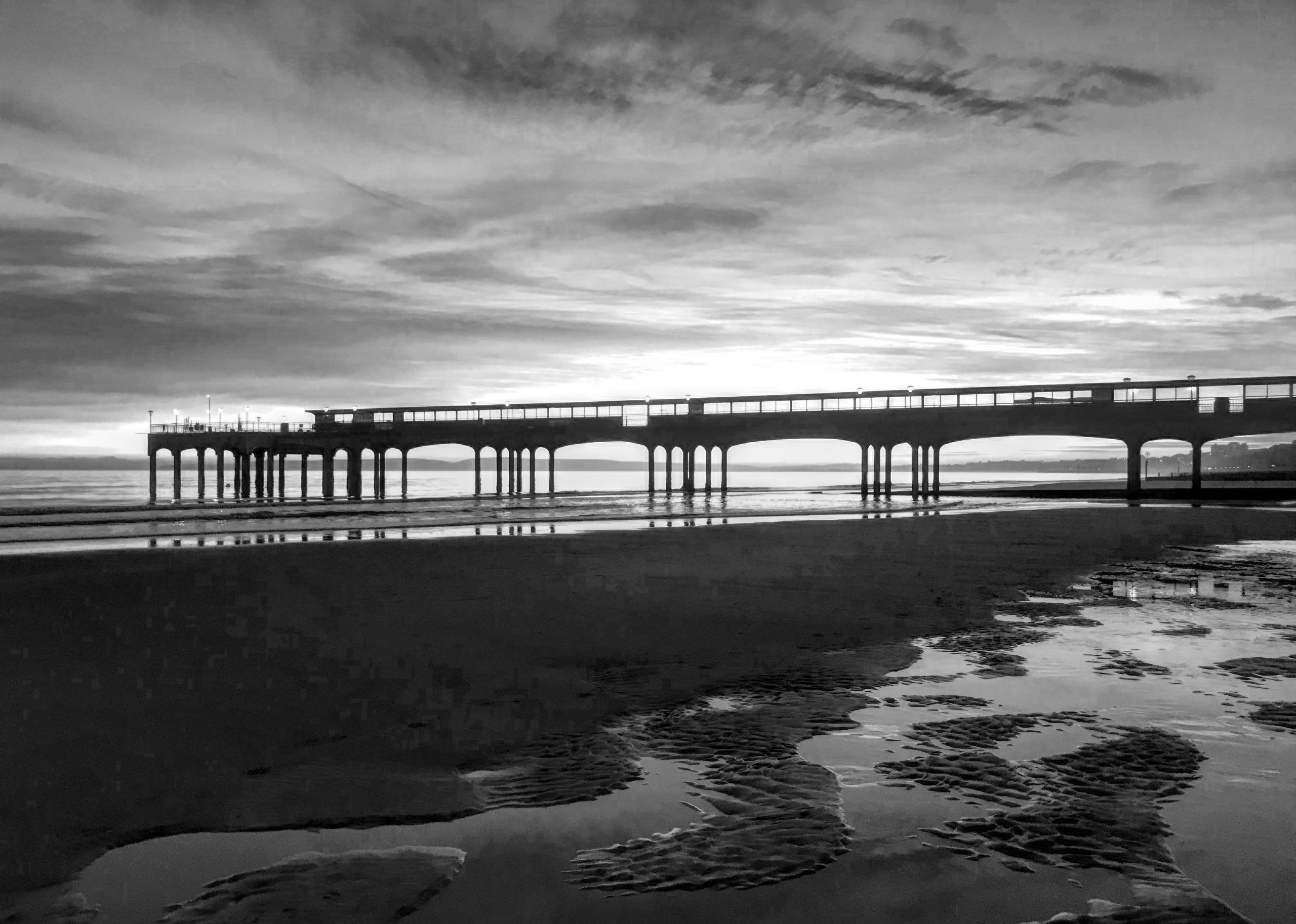 Boscombe pier black and white