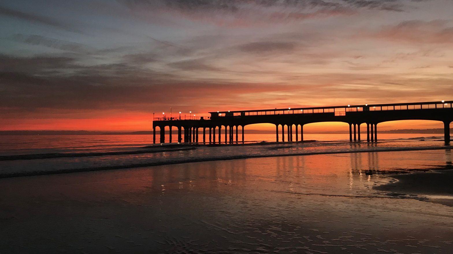 Boscombe pier at sunset