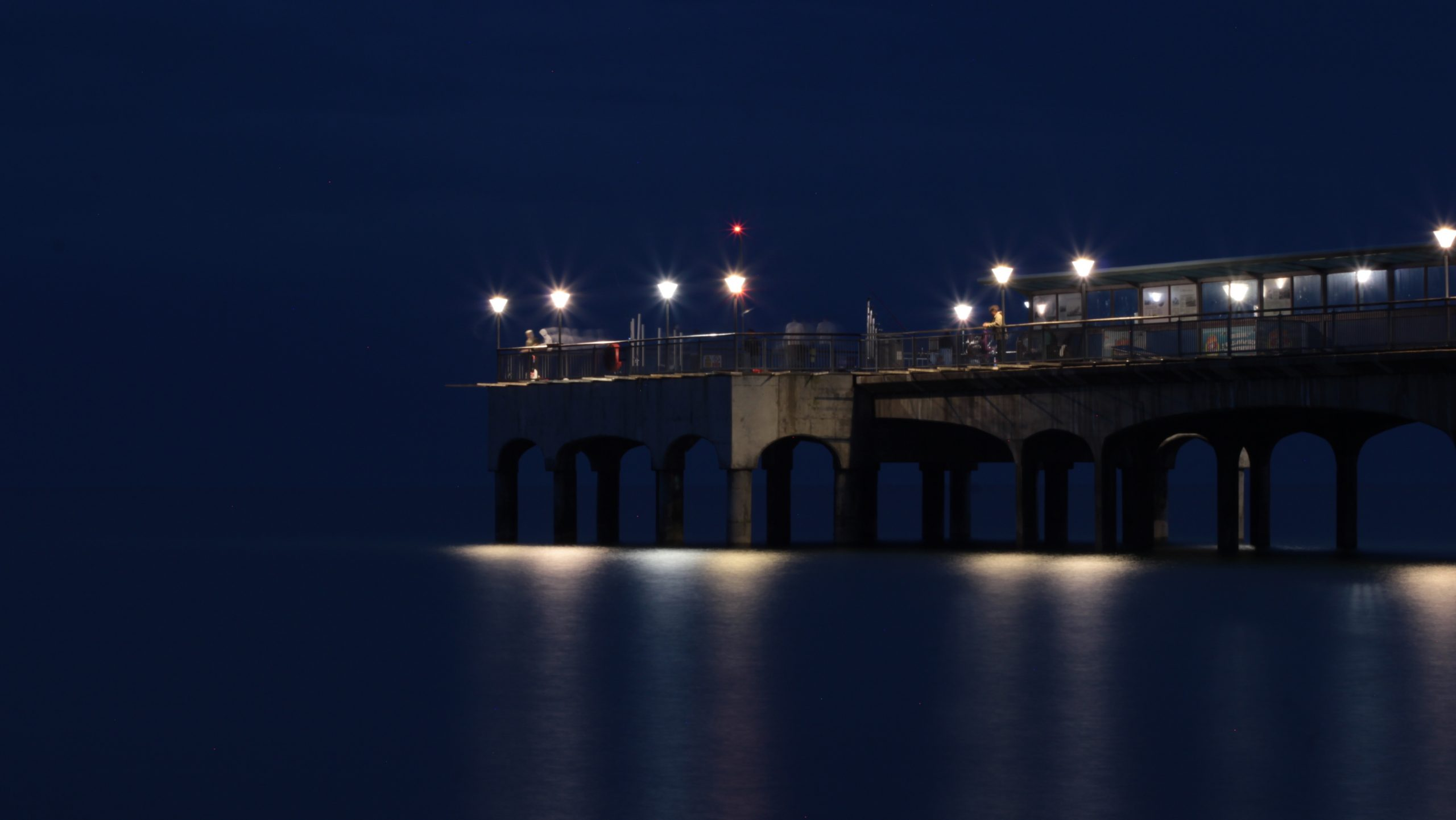 Boscombe pier at night
