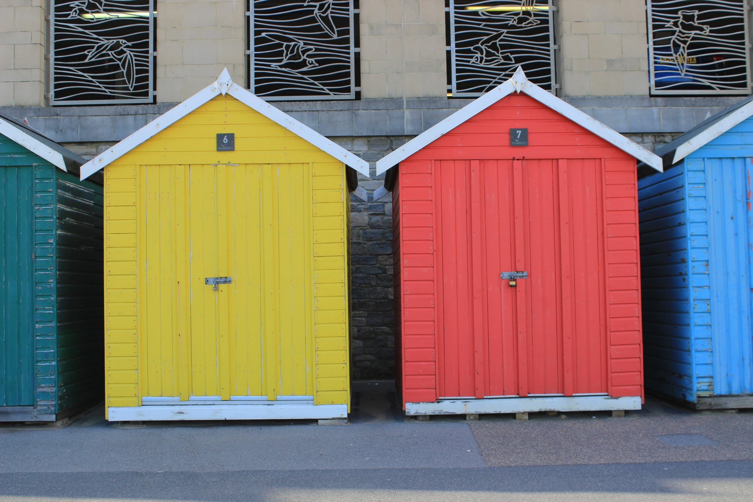 Boscombe beach huts colourful