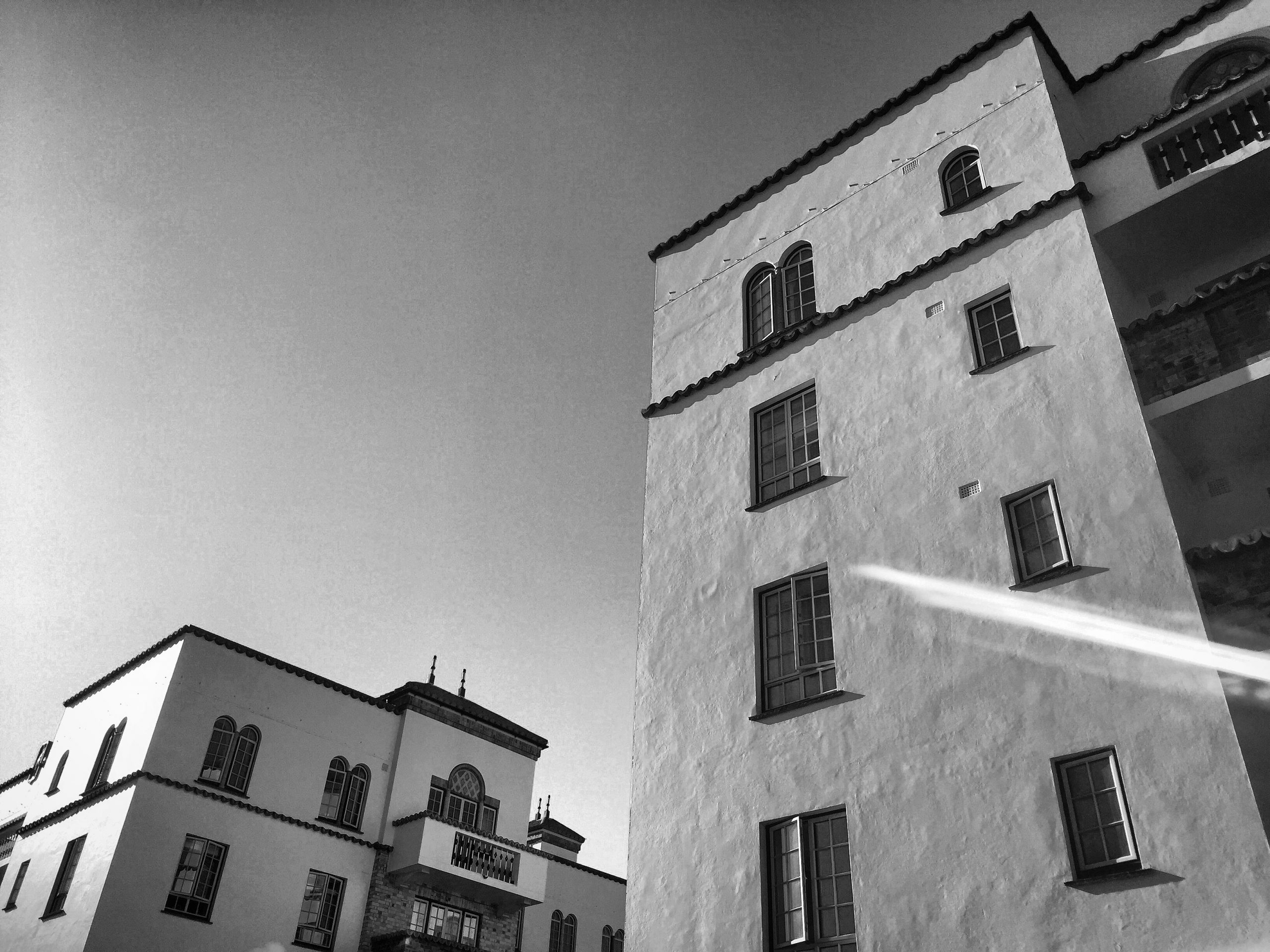 San Remo Towers monochrome flare